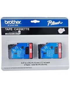 "TC11 | Brother TC11 OEM 2 Pack Red On Clear P-Touch Label Tape 1/2"" x 25'"